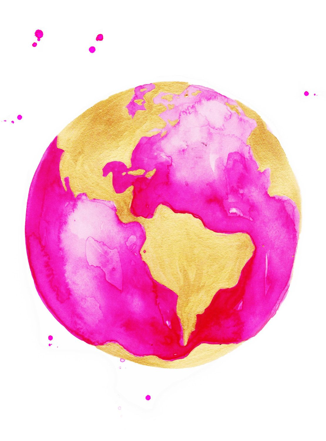 1110x1500 Pink And Gold Watercolor Globe Illustration G I R L Y