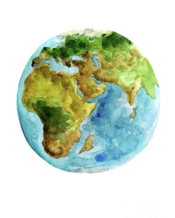 600x750 Planet Earth, Asia Map Poster, Africa Map Watercolor Painting