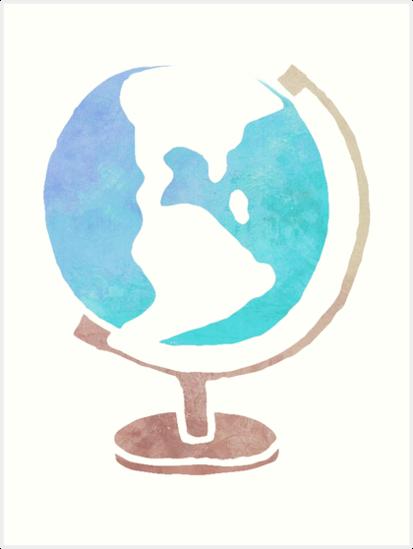 413x549 Simple Watercolor Globe Art Prints By Jay P Redbubble