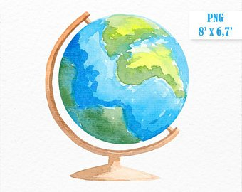 340x270 Watercolor Globe Etsy