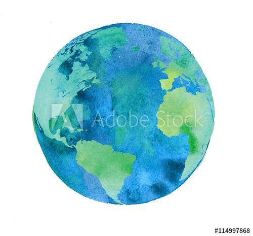 500x465 Hand Painted Earth Globe. Watercolor Artwork