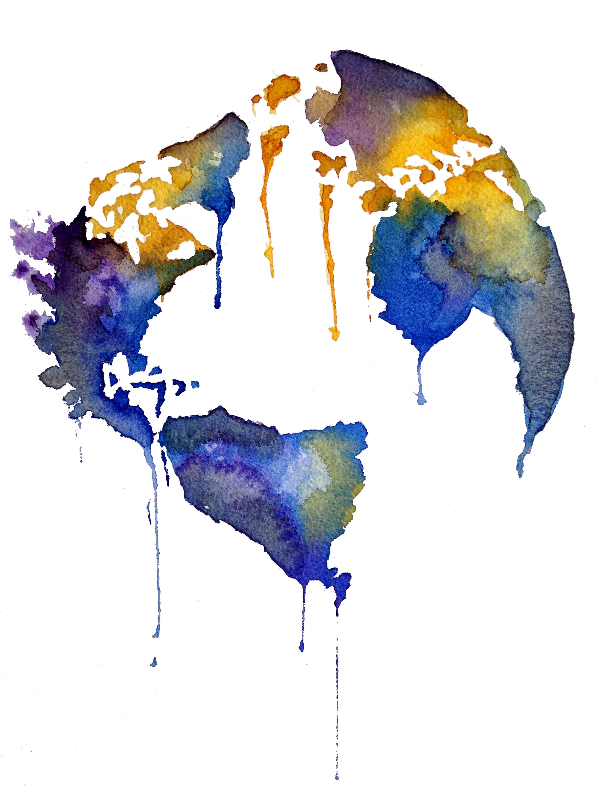 2448x3181 Watercolor Globe World Watercolor Globe