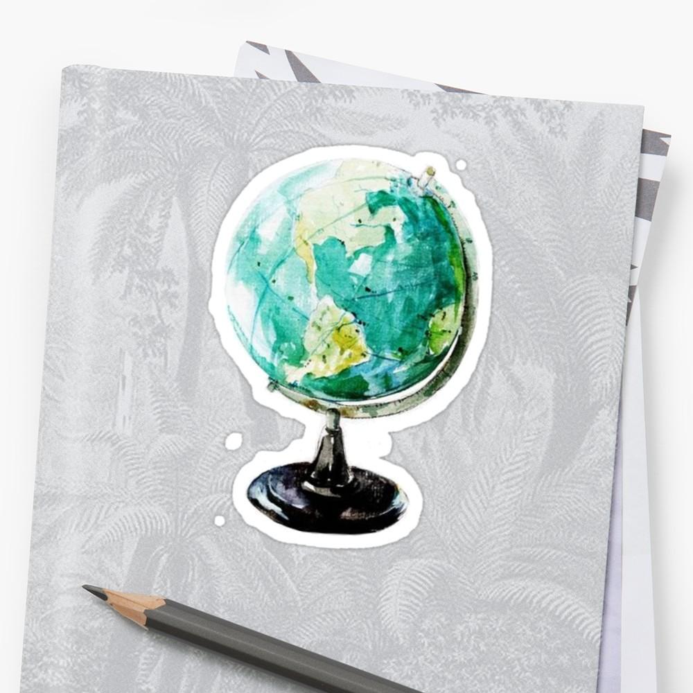 1000x1000 Watercolor Globe World Stickers By Daria Smith Redbubble