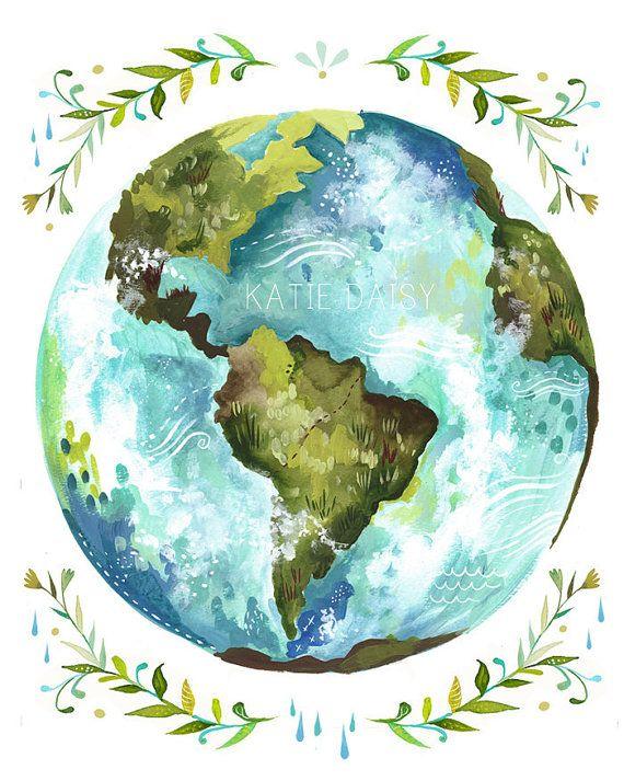 570x713 Dear Earth Art Print Watercolor Wall Art Inspirational Print