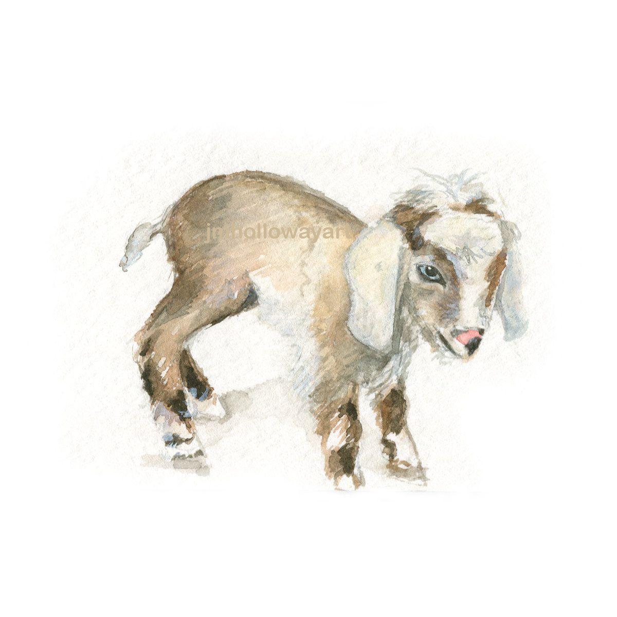1200x1200 Watercolor Baby Goat, Baby Goat Print, Baby Goat Art, Farm Animal