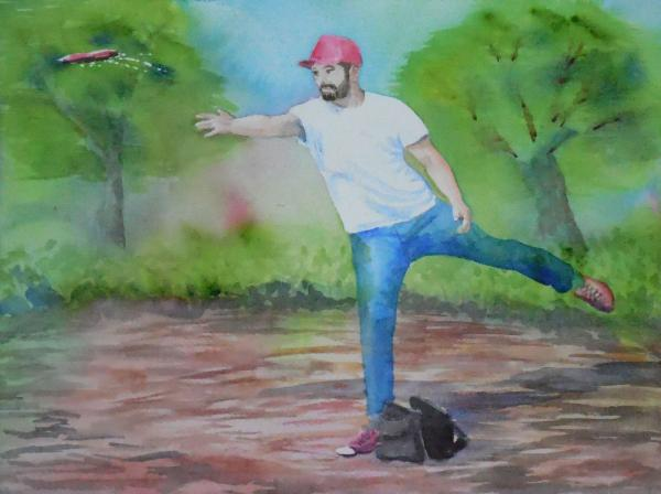 600x448 Watercolor Disc Golf Form