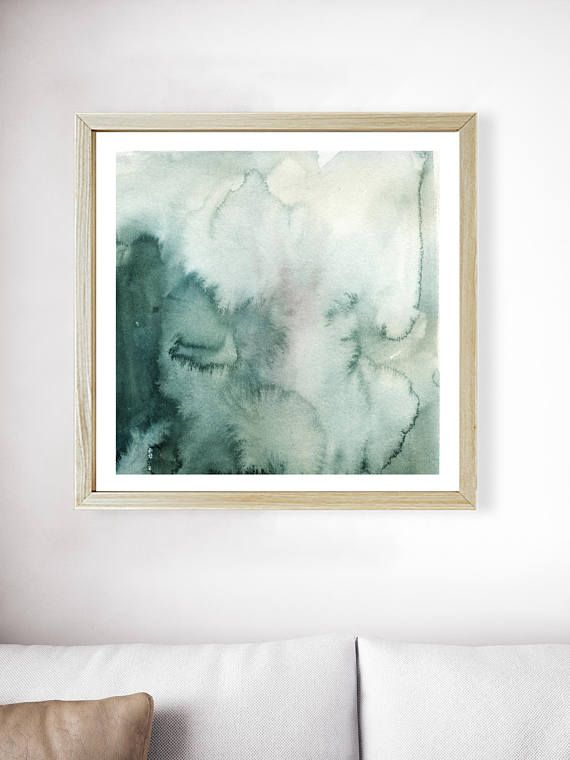 570x760 Green Watercolor Gradient Wash Print Forest Green Print Green