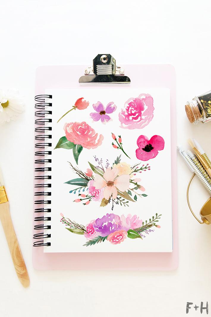 710x1065 Free Watercolor Flower Graphics From Fox + Hazel