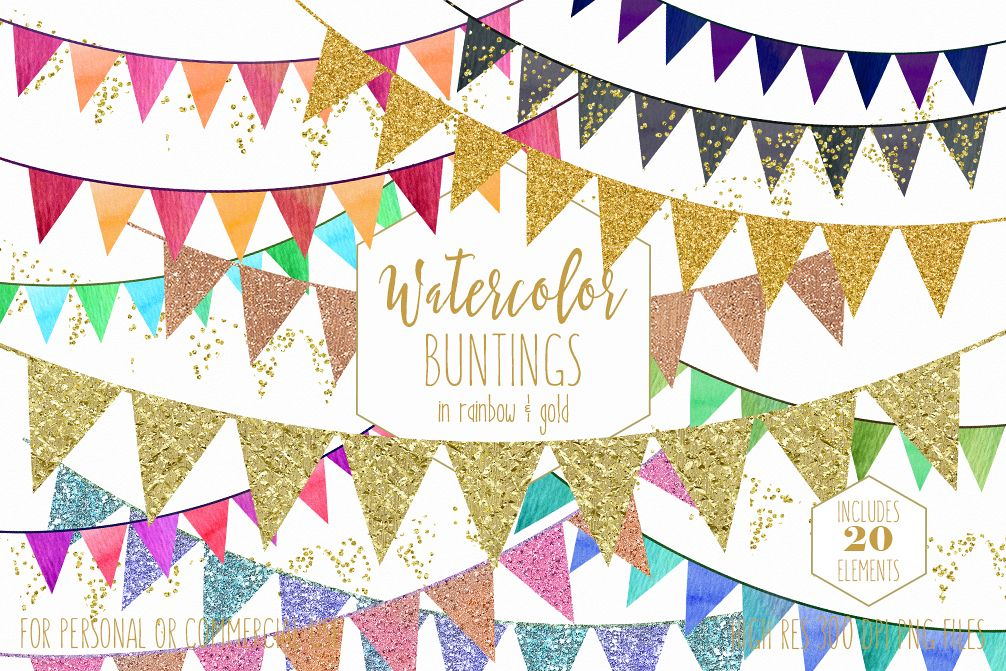 1006x671 Gold Bunting Banner Clipart Rainbow Watercolor Pennant Flag