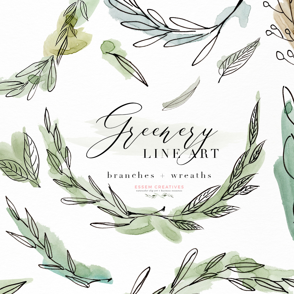 1000x1000 Greenery Line Art Watercolor Clipart, Olive Eucalyptus Branches