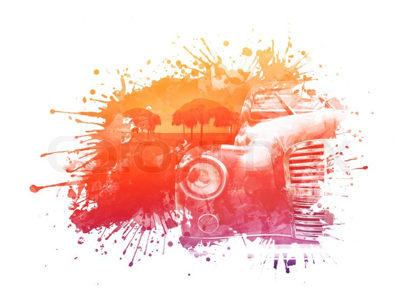 800x600 Old Car In The Stain Of Watercolor. Computer Graphics. Stock