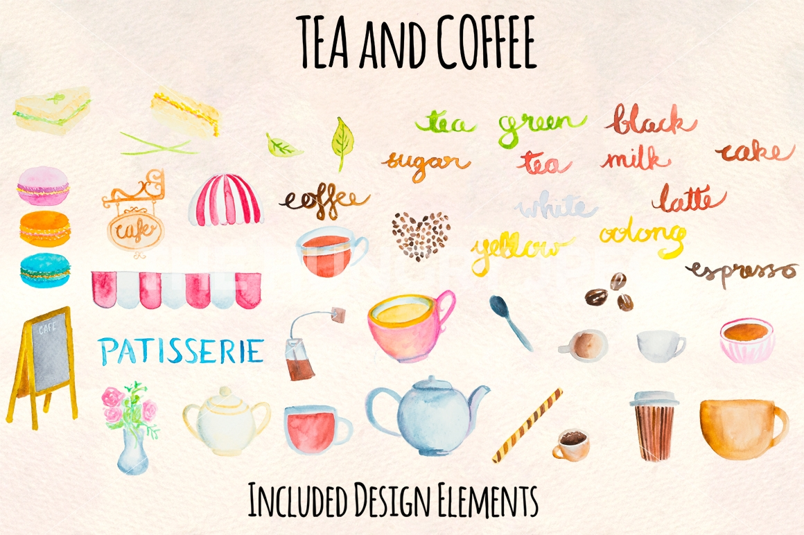 1160x772 Tea And Coffee Watercolor Graphics By Violet Lebeaux