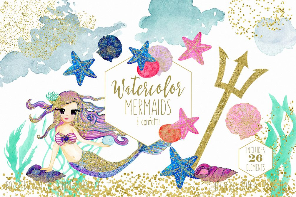 1006x671 Watercolor Mermaid Clipart With Metallic Gold Confetti Mermaids