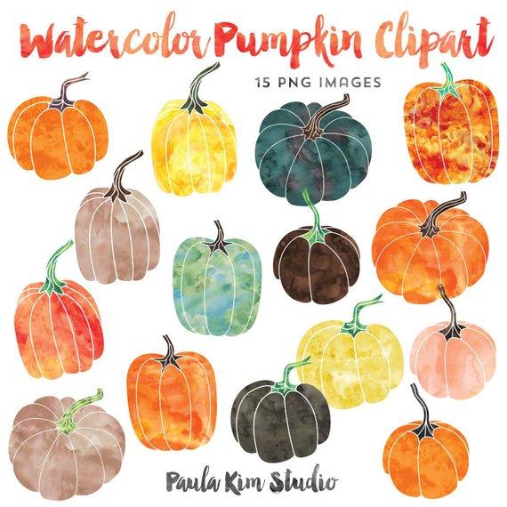 570x570 Watercolor Graphics Pumpkin Clipart Fall Clip Art Instant Etsy
