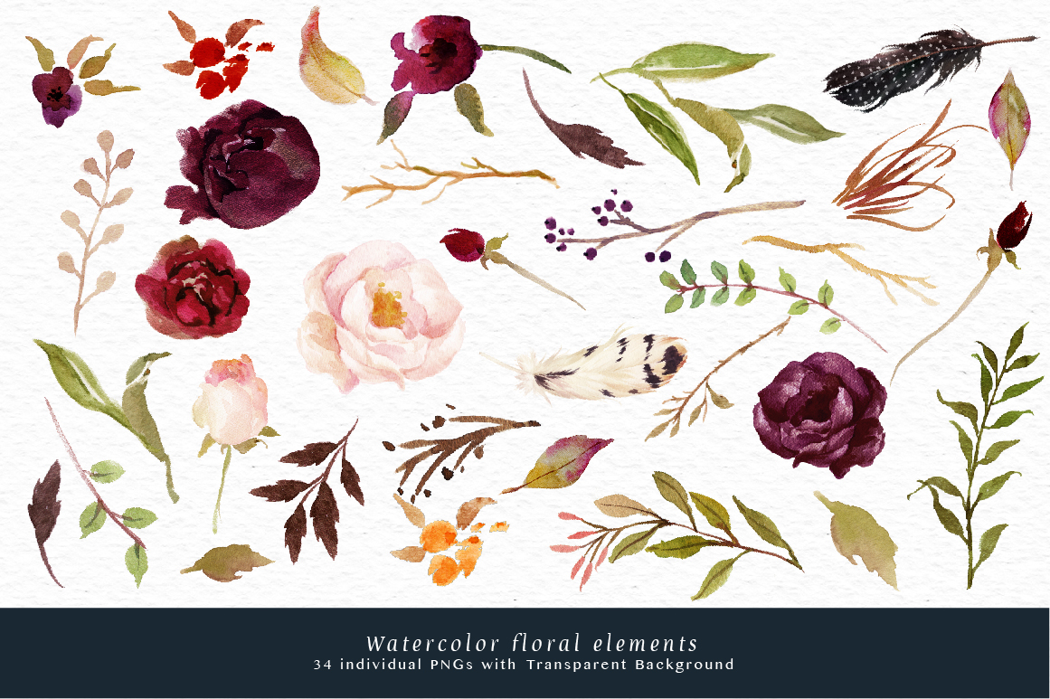 1161x773 Watercolor Flower Clip Art Marsala By Graphic Box