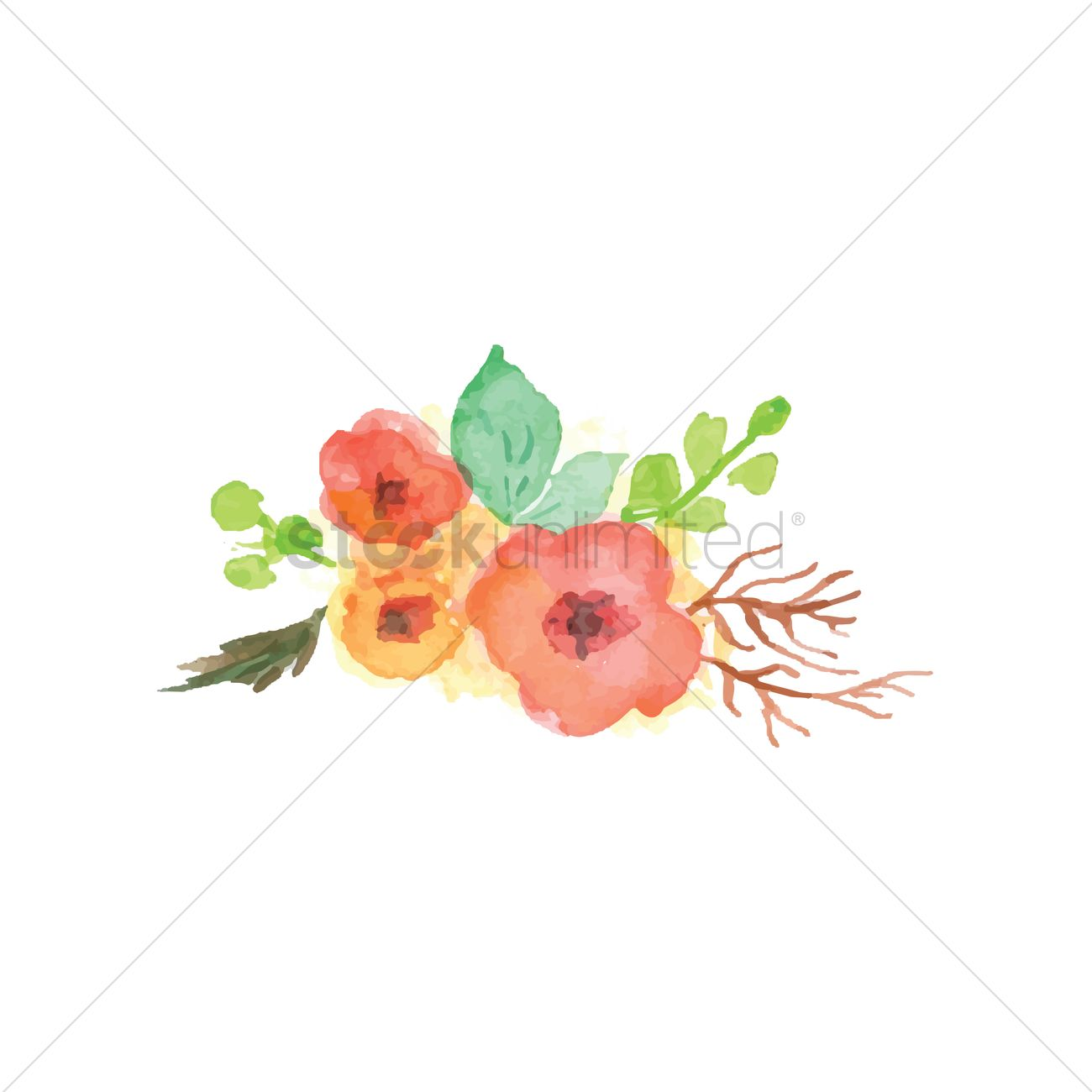1300x1300 Watercolor Flowers With Leaves Vector Image