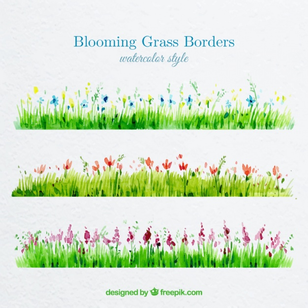 626x626 Watercolor Grass Borders With Blooming Flowers Vector Free Download