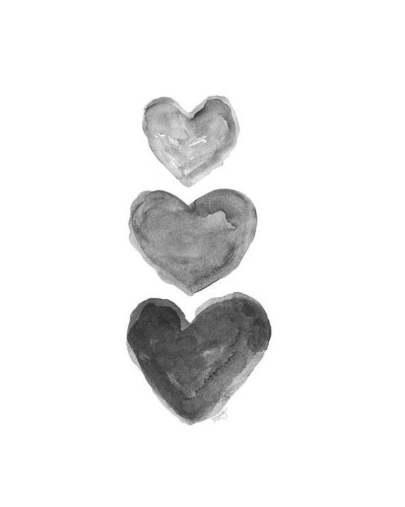 570x713 Black Heart, Watercolor Print, Charcoal Art, Grey Art, Black And