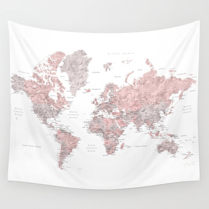 700x700 Dusty Pink And Grey Detailed Watercolor World Map Wall Tapestry By