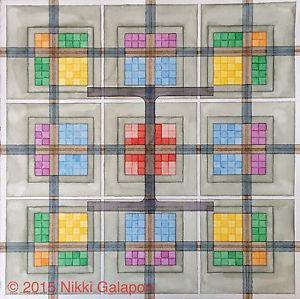 300x299 Original Watercolor Painting Fine Art Modern Geometric Modern
