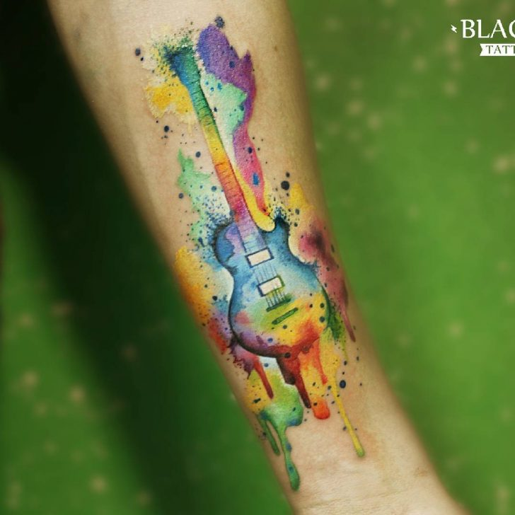 Watercolor Guitar Tattoo At Getdrawings Com Free For Personal Use