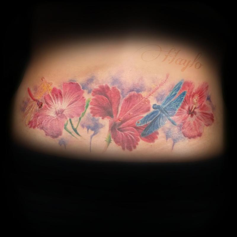 800x800 Lower Back Custom, Realistic Style Tattoo With Hibiscus Flowers