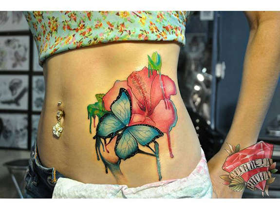 575x429 35 Black Amp Grey And Colorful Hibiscus Tattoos
