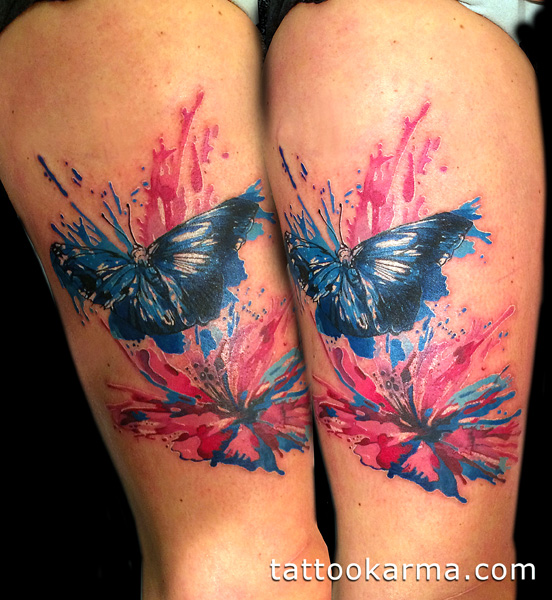552x600 Watercolor Butterfly And Hibiscus Flower Tattoo