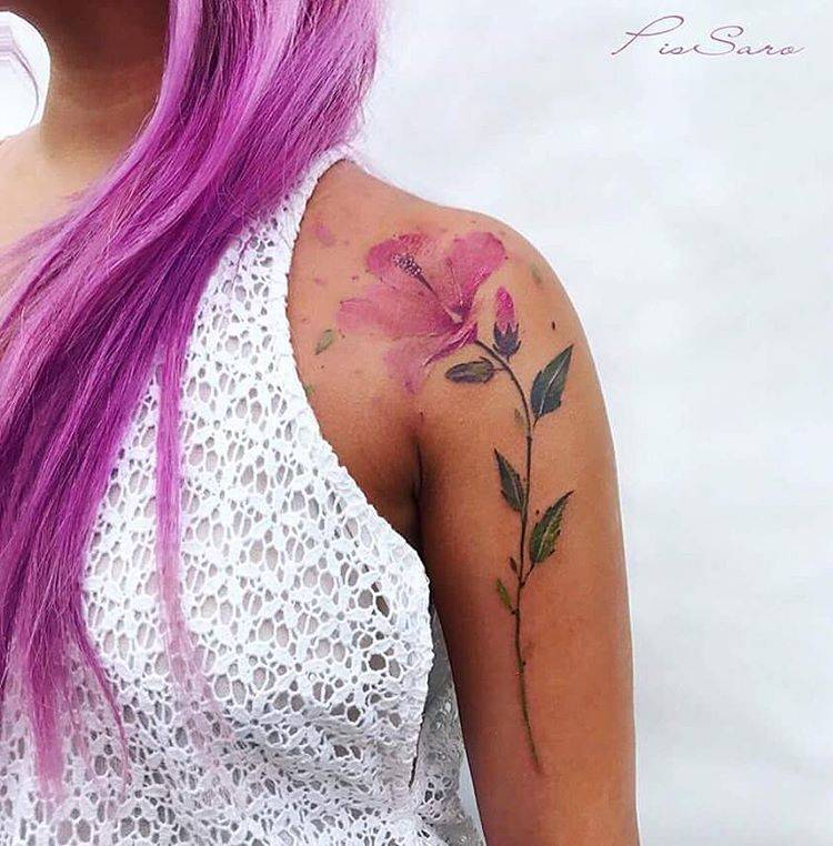 750x762 Watercolor Hibiscus Tattoo On The Left Shoulder.