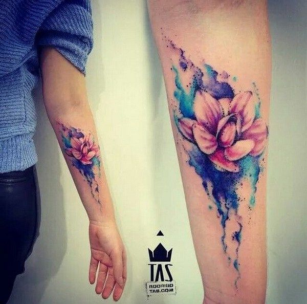 600x594 60 Awesome Watercolor Tattoo Designs Flower Watercolor
