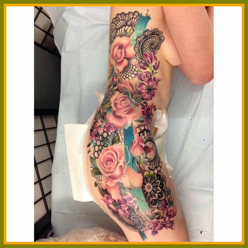 1010x1010 Astonishing Floral Paisley Lace Watercolor Side Rib Tattoo For