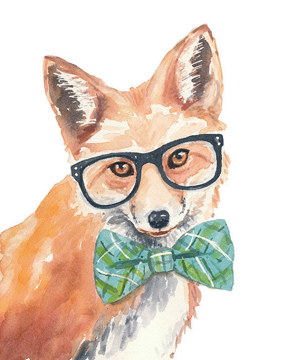 570x713 Whimsical Hipster Animal Watercolors Animal Watercolor Paintings