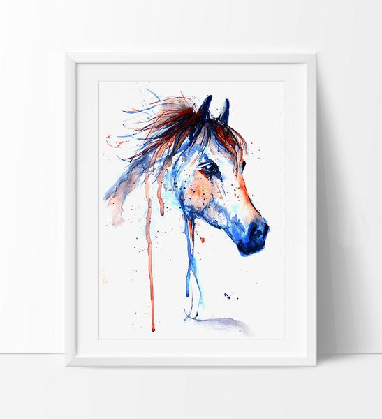 547x600 Horse Art, Horse Decor Watercolor, Horse Painting Wall Art Print