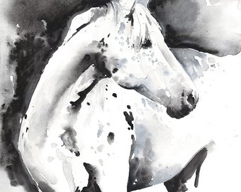 340x270 Horse Watercolor Painting Original Watercolor Painting Horse