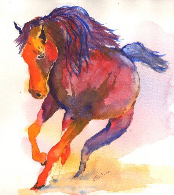 570x641 Paintings Of Horses Horse Prints Watercolor Horse Paintings Etsy