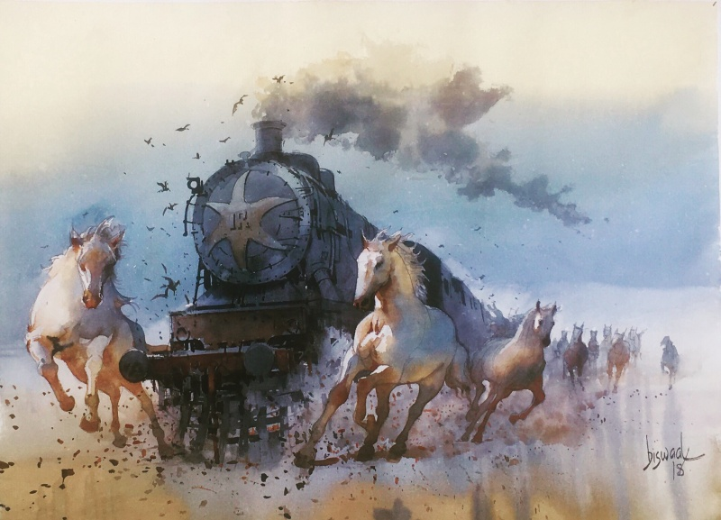800x577 Running Horse And Engine By Artist Bijay Biswaal Animals Art