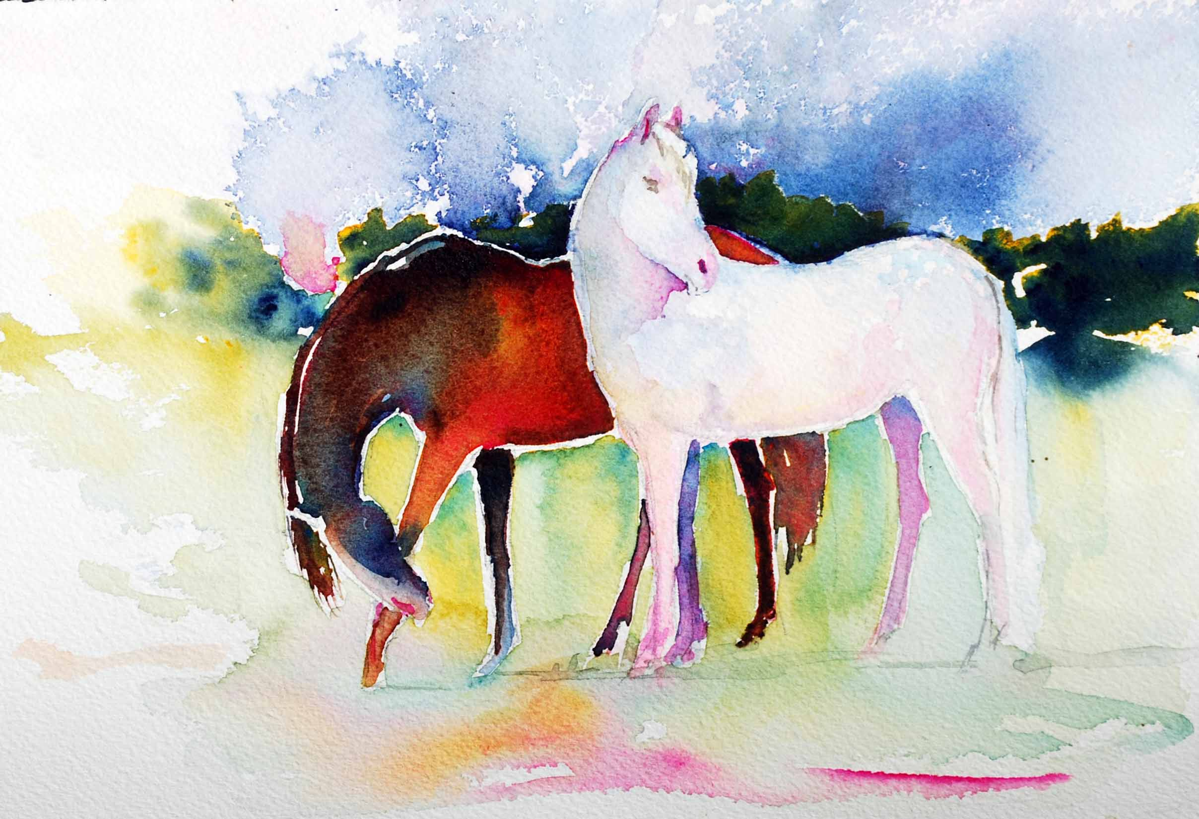 2416x1650 Watercolor Paintings Of Horses Interlude Late Summer Horse