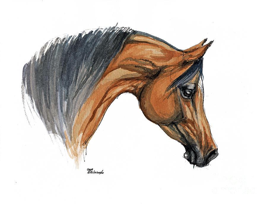 900x689 Bay Arabian Horse Watercolor Painting Painting By Angel Ciesniarska