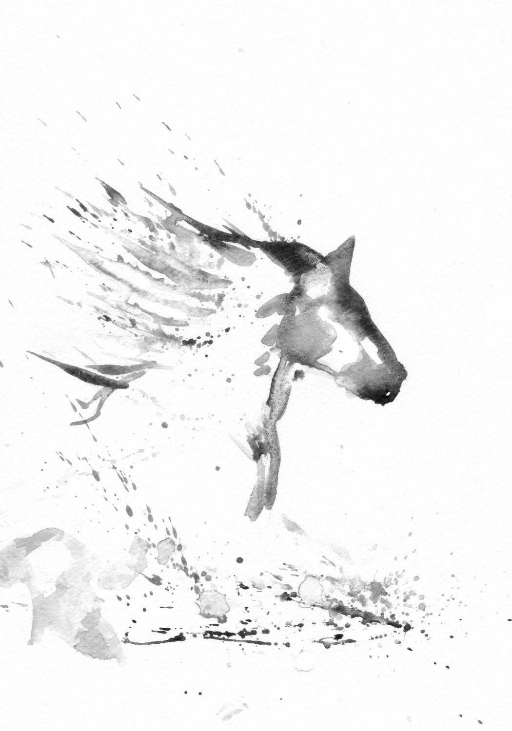 1050x1500 Black And White Horse Paintings Watercolor Horse Tattoo Art