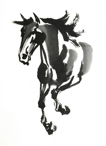 365x500 Chinese Watercolor Horse Equine Art By Jeanne Rewa