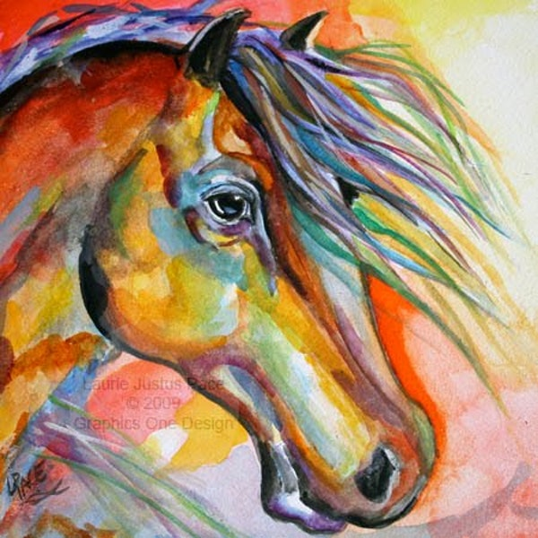 600x600 Color Of Light Watercolor Horse Colorful Sunset Daily Painting By