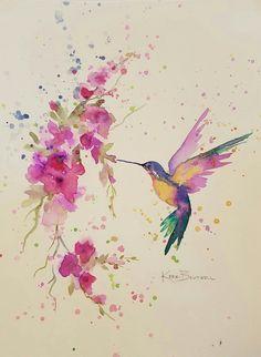 Watercolor Hummingbird Art