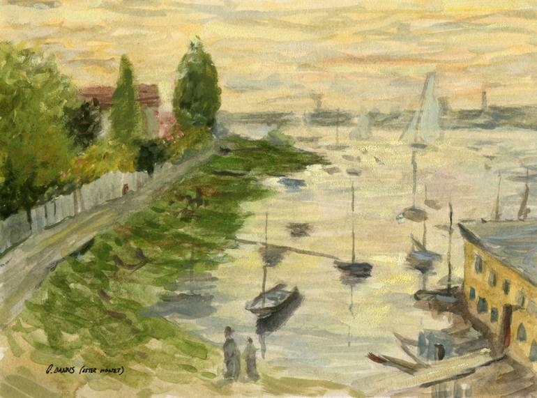 770x571 Habor Sailboat Impressionist Watercolor Landscape (After Claude