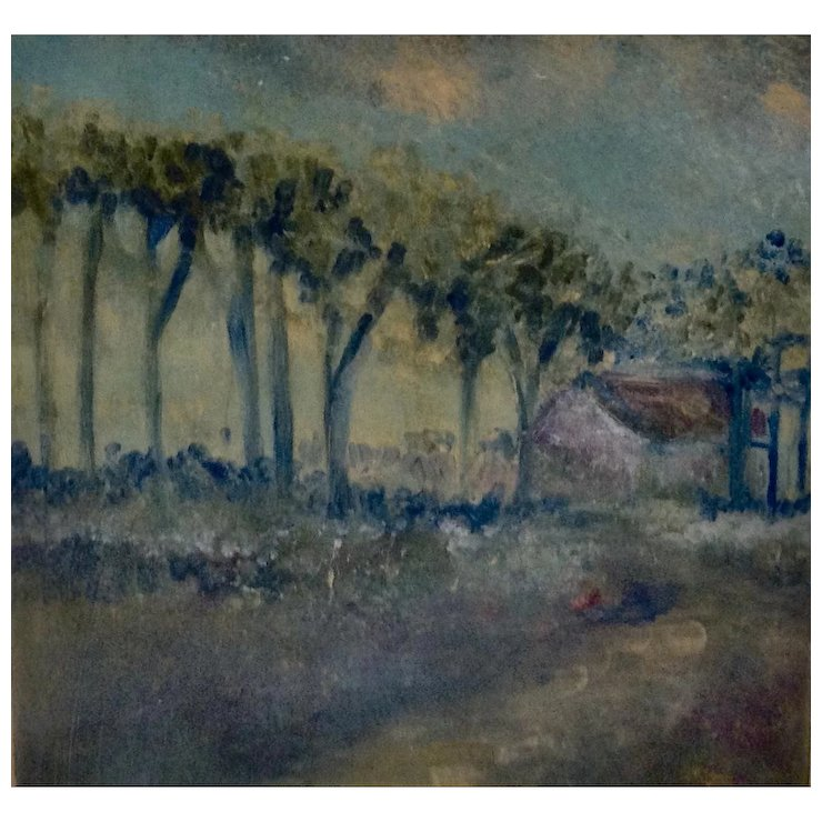 740x740 Impressionist Landscape Watercolor Painting Tree Lined Path To