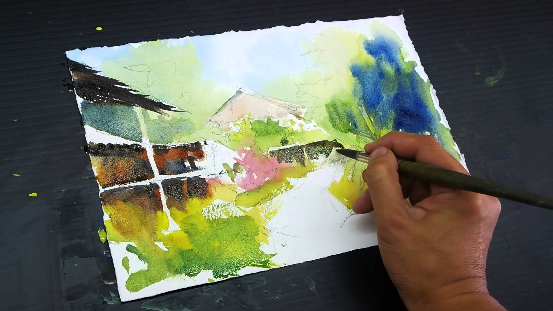 1920x1080 Impressionistic Landscape In Watercolour By Marvin Chew