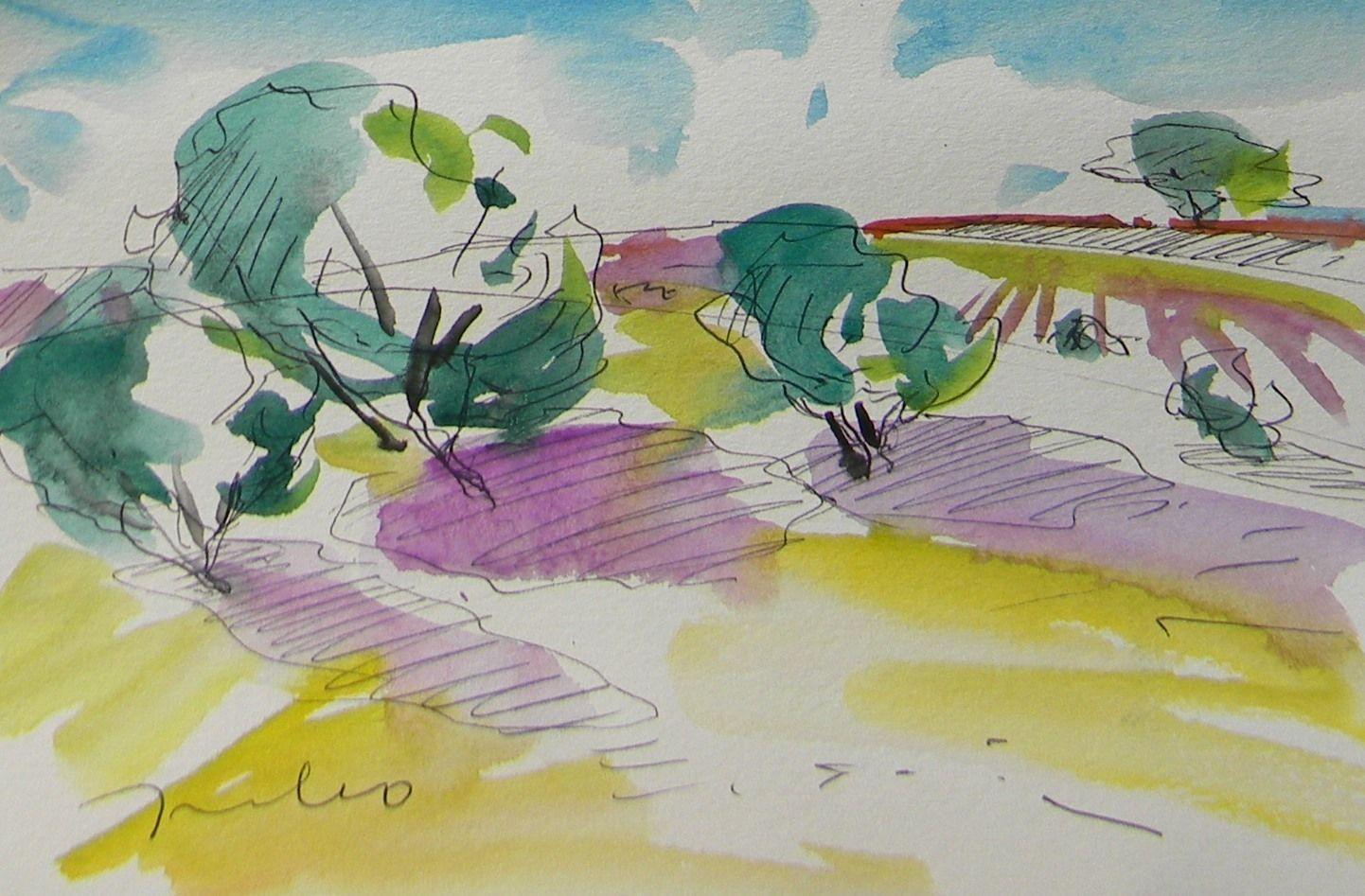 1442x947 Jose Trujillo Original Watercolor Painting Impressionist Landscape