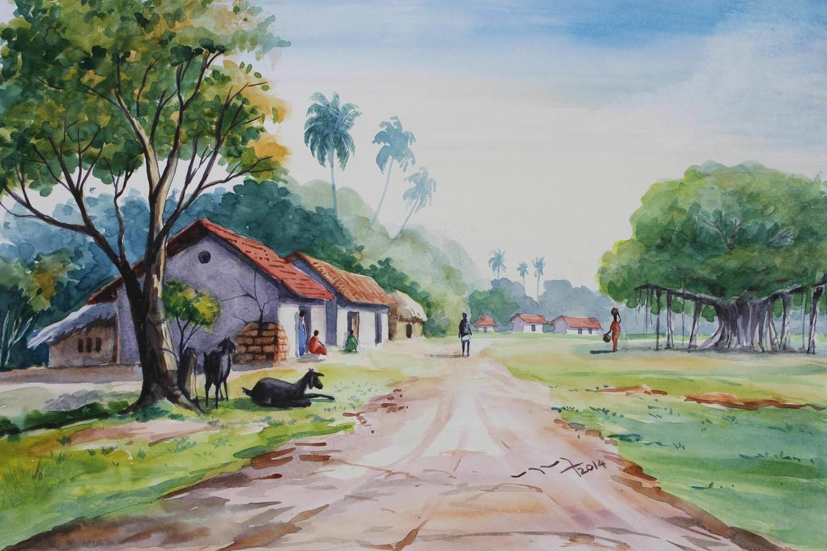 1200x799 Village Life Landscape By Artist Balakrishnan S Impressionism