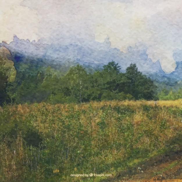 626x626 Watercolor Impressionist Landscape Vector Free Download