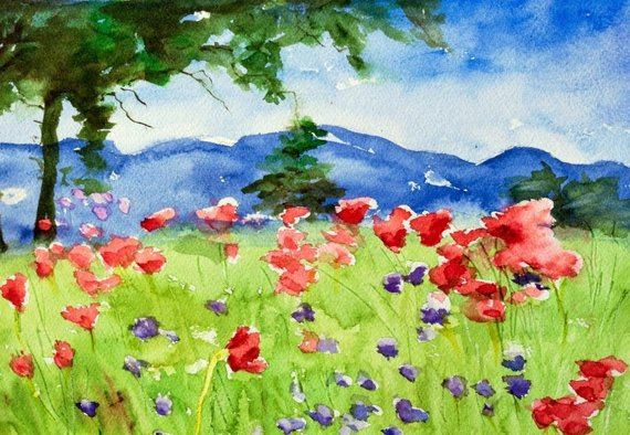 570x394 Watercolor Painting Original Colorful Impressionist Landscape Etsy