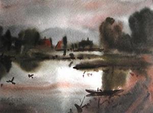 300x222 Zdravko Cosic Watercolour Impressionist Landscape Signed Dated